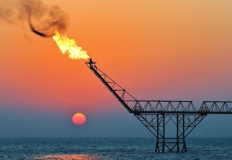 offshore oil rig production gas flaring pollution emissions CO2 Innova