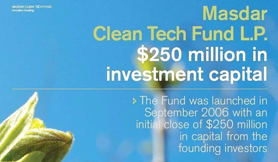 Masdar Cleantech fund $250 million VC fund